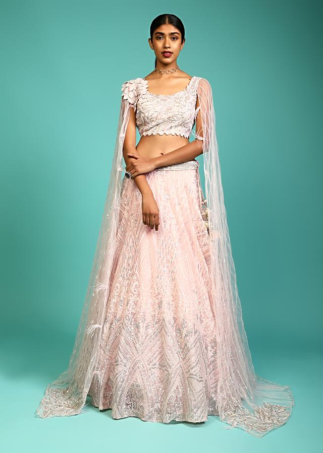 Baby Pink Lehenga Choli With Sequins Embroidered 3D Patch On The Shoulder And Long Floor Length Sleeves Online - Kalki Fashion