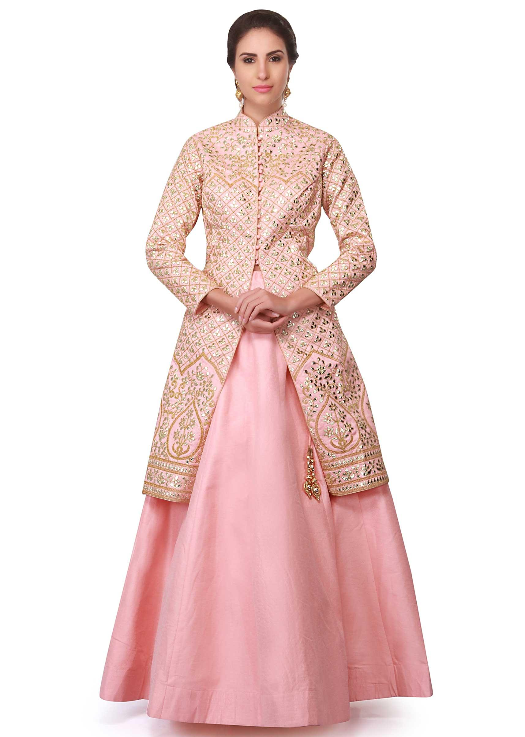 Baby pink lehenga in raw silk with gotta patch jacket
