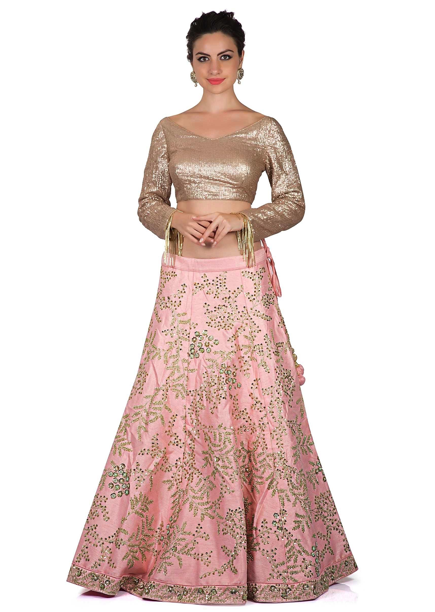 5aa59f4221 Baby pink lehenga in zari and kundan work with sequin blouse only on  KalkiMore Detail