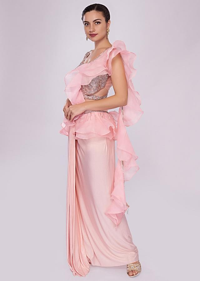 Baby Pink Lycra Saree With Draped Pleats And Ruffled Organza Pallo Online - Kalki Fashion