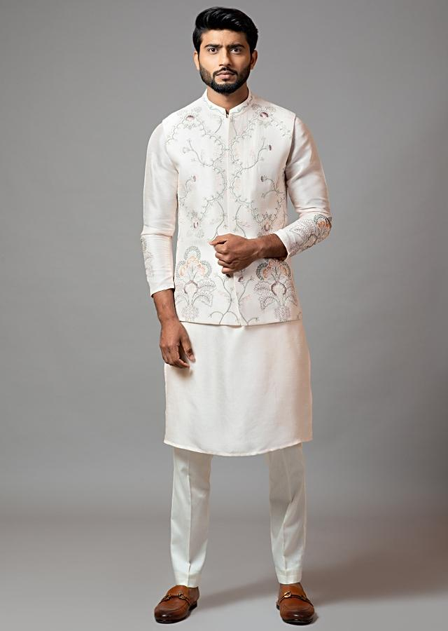 Baby Pink Nehru Jacket And Kurta Pajama Set With Multicolored Garden Inspired Embroidery By Smriti Apparels