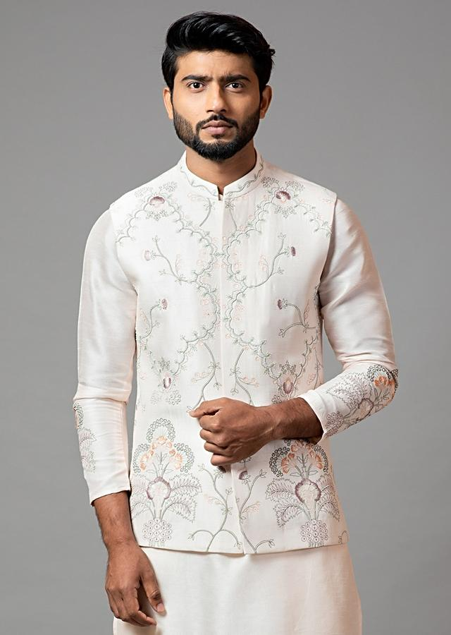 Baby Pink Nehru Jacket In Silk With Multicolored Garden Inspired Embroidery By Smriti Apparels