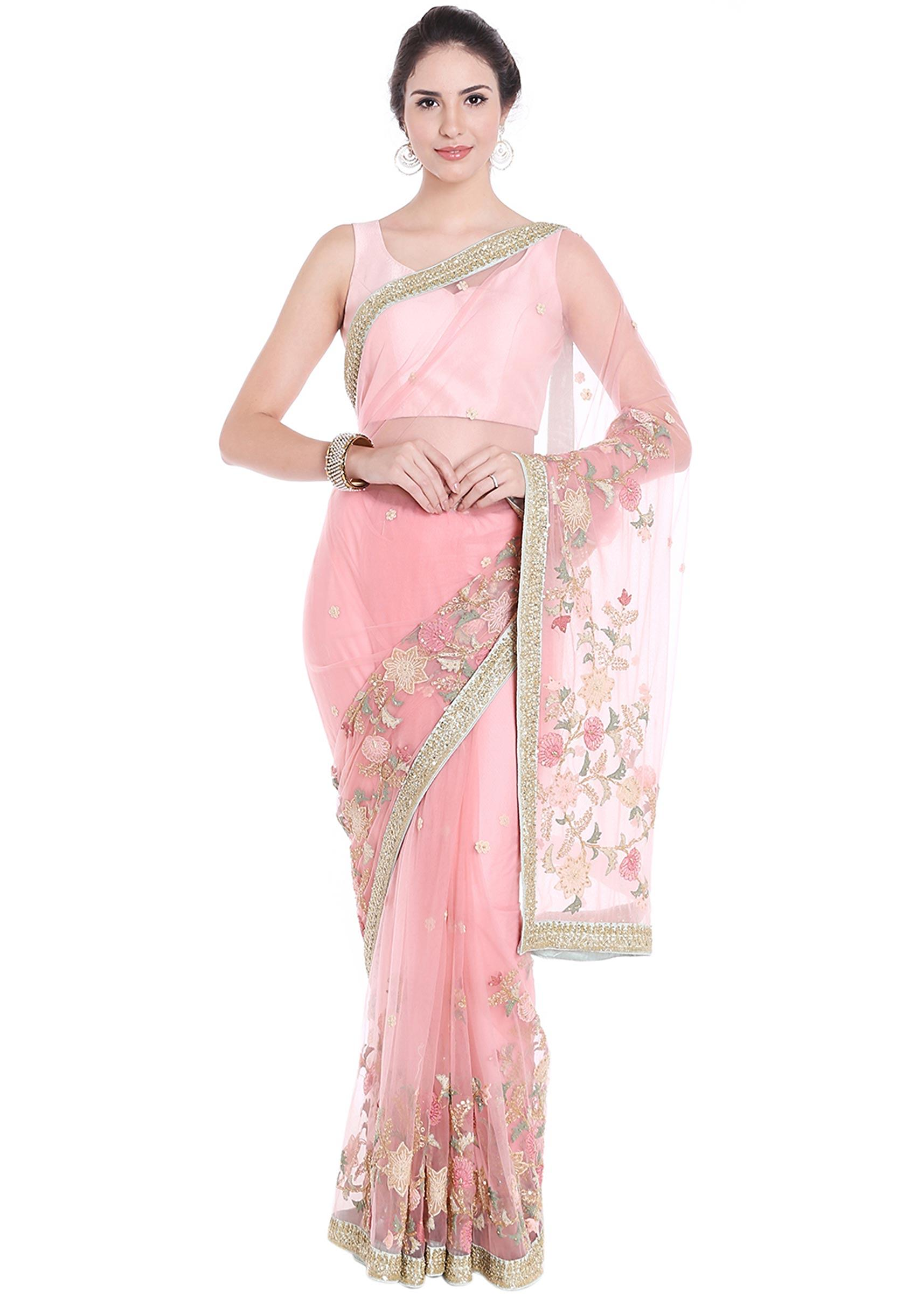 f8c1dd29eeefe Baby pink net saree adorn in thread floral jaal motif all over only on Kalki