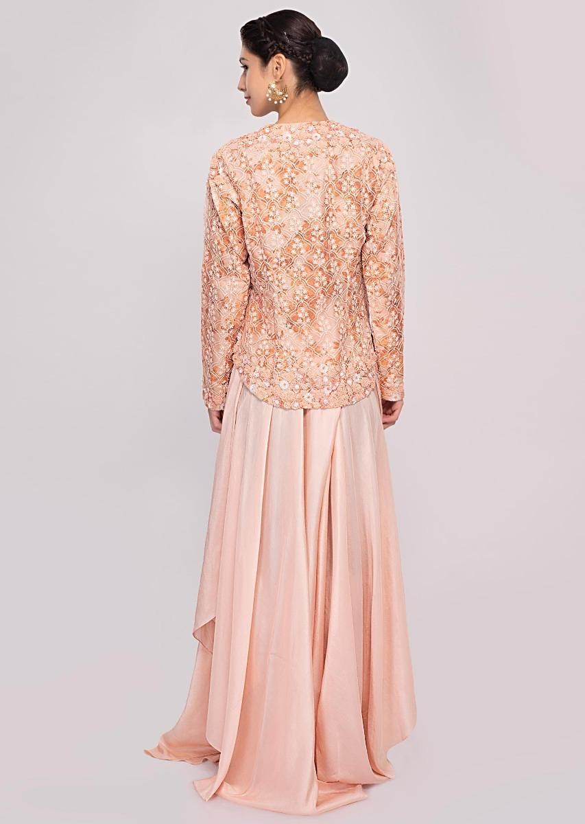 e615ad10be8 Baby pink palazzo paired with a printed frost blue crop top and embroidered jacket  only on Kalki