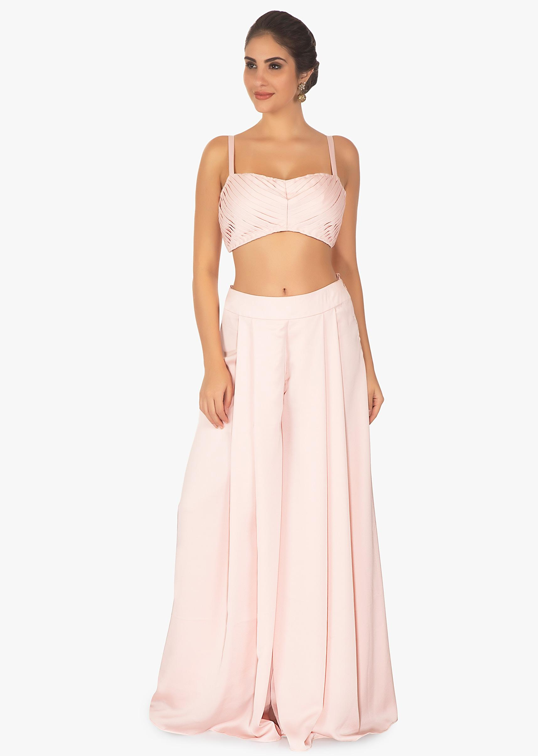2e650a9f440 Baby pink palazzo pant and crop top paired with a blue overlay long jacket  only on Kalki