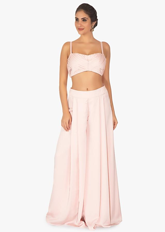 Baby Pink Palazzo Pant And Crop Top Paired With A Blue Overlay Long Jacket Online - Kalki Fashion
