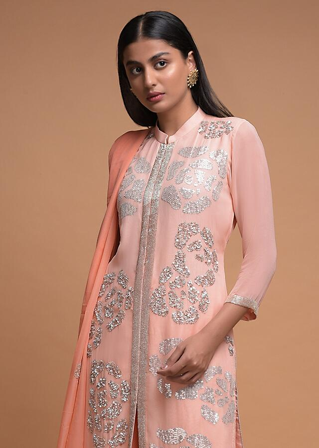 Baby Pink Palazzo Suit In Georgette With Sequins And Cut Dana Embroidered Rose Motifs Online - Kalki Fashion