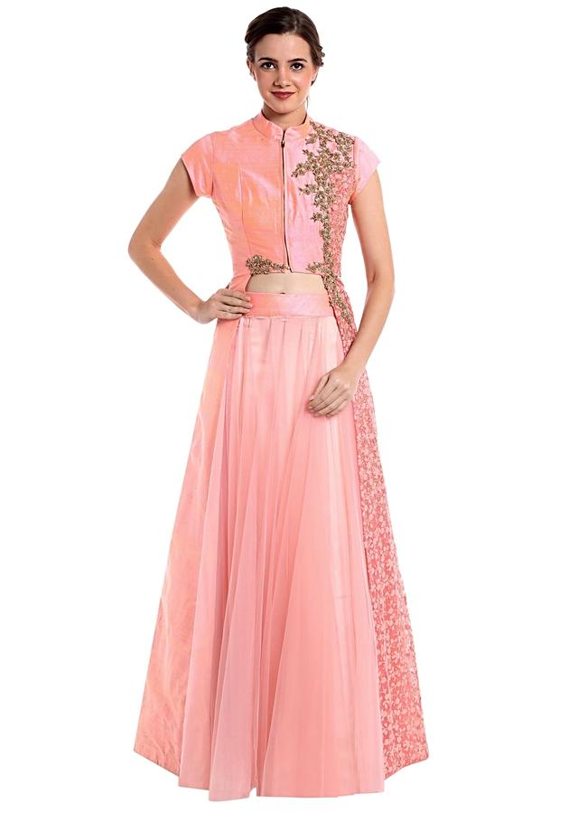 Baby Pink Lehenga Blouse In Raw Silk And Net Crafted With Zari Online - Kalki Fashion