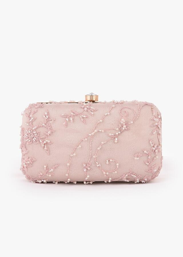 Baby Pink Rounded Box Clutch With Embroidered Net Adorned In Moti, Cut Dana And Resham In Floral Motifs Online - Kalki Fashion