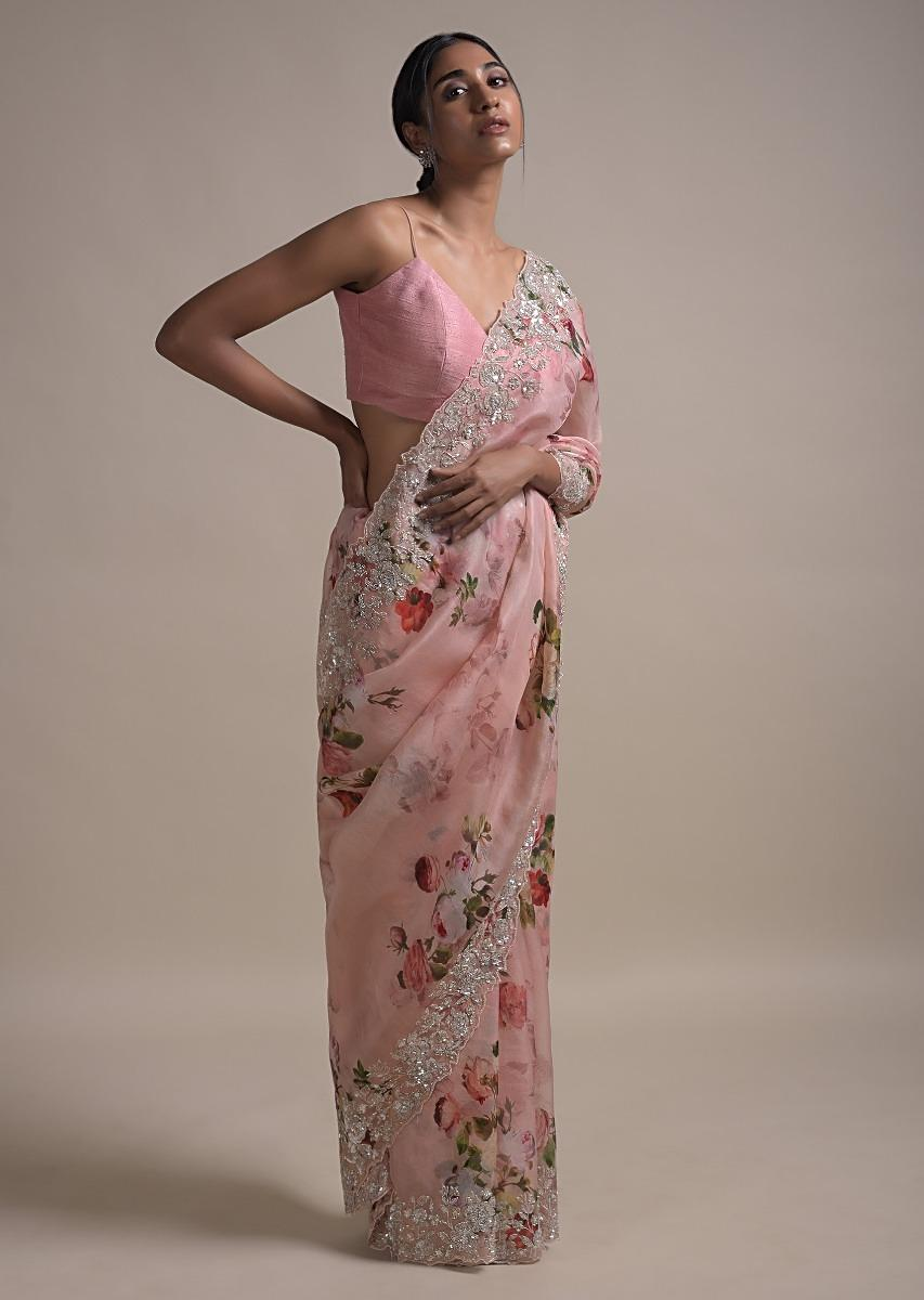 baby pink saree in organza with floral print
