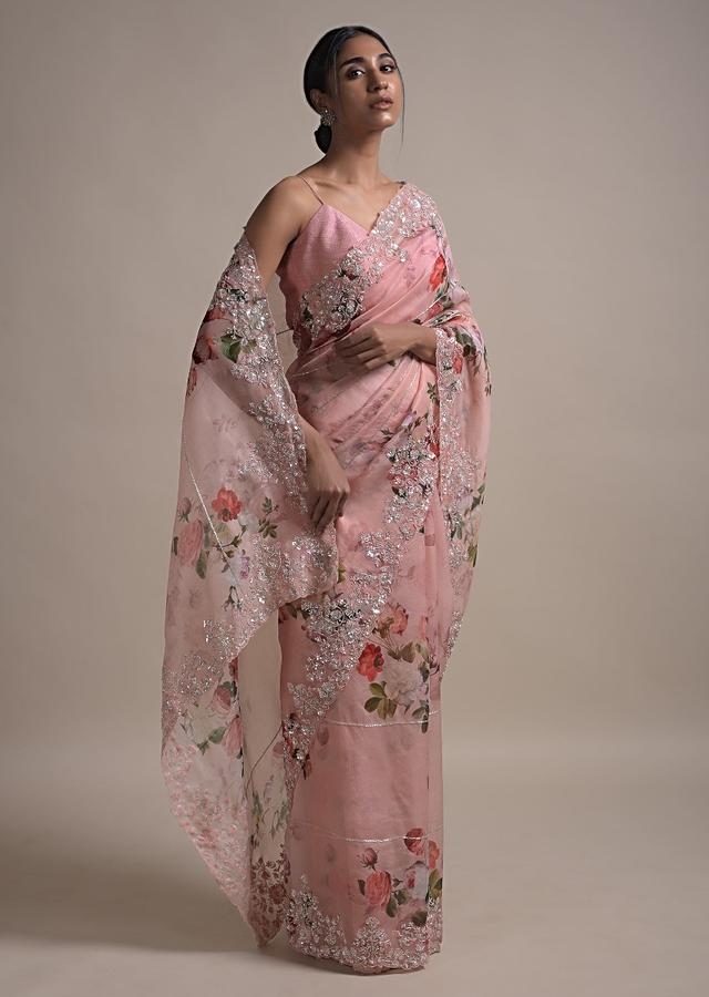 Baby Pink Saree In Organza With Floral Print Along With Sequins, Pearls And Cut Dana Work On The Border Online - Kalki Fashion