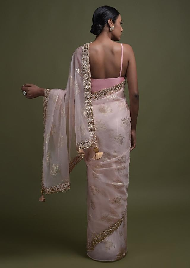 Baby Pink Saree In Organza With Foil Printed Floral Buttis And Gotta Lace On The Border Online - Kalki Fashion