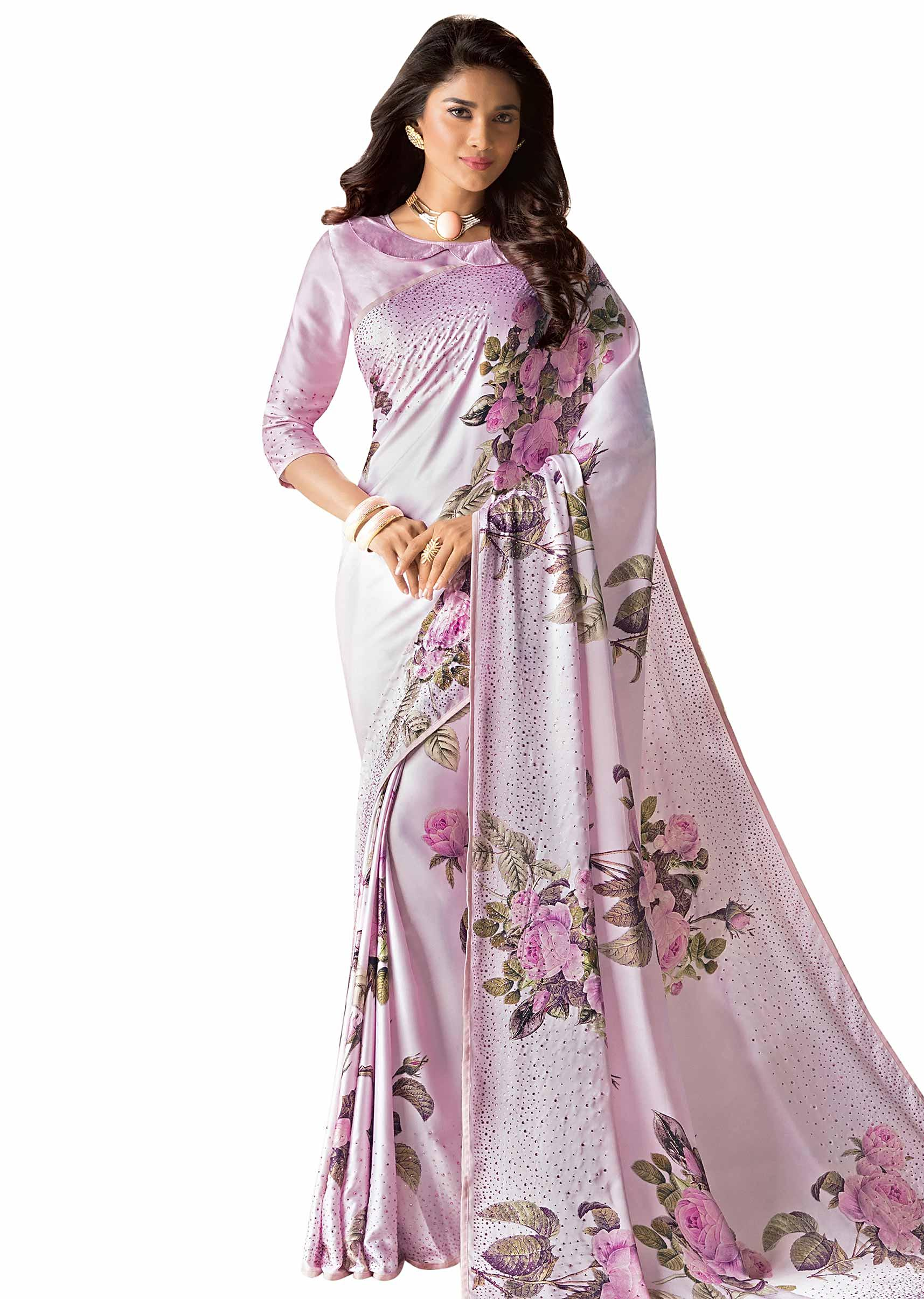 9787b8527c316 Baby pink saree in satin with roe motif digital print