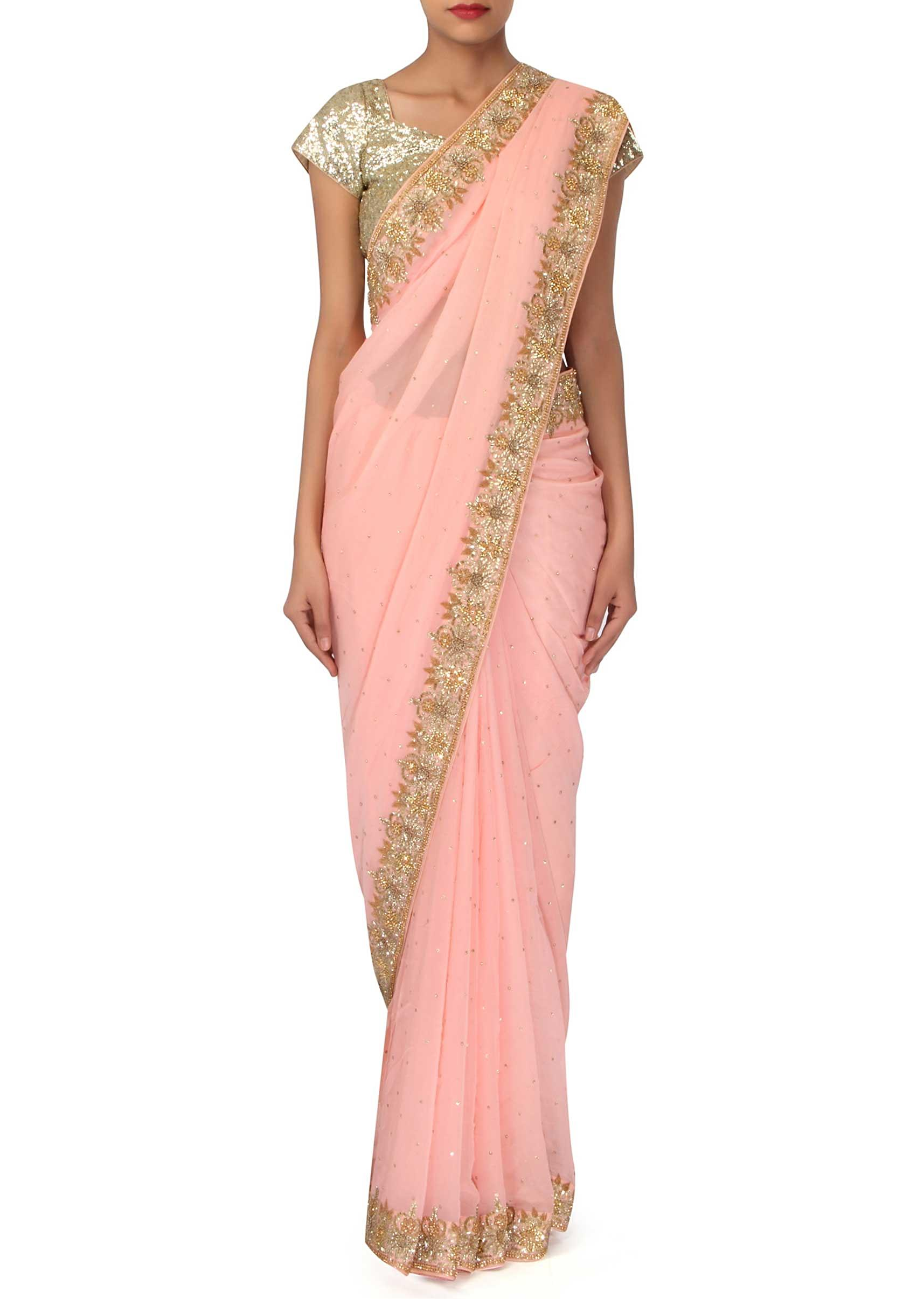 31e1e305446dd Baby pink saree with embroidered border only on Kalki