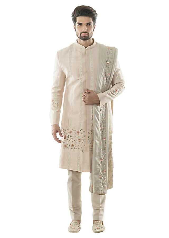 Baby Pink Sherwani Paired With An Embroidered Dupatta In Light Grey And Pant Pajama. Online - Kalki Fashion