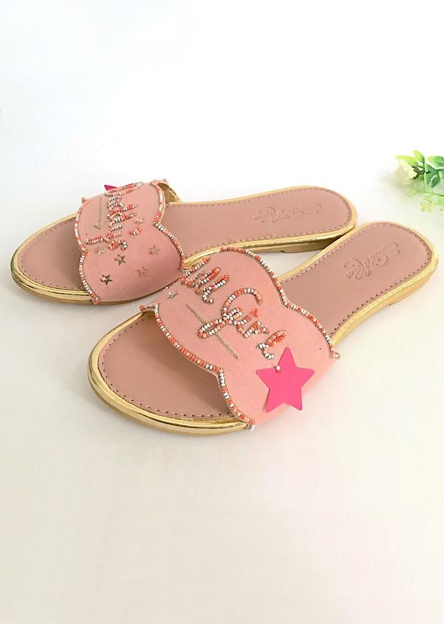Baby Pink Slider Flats With Candy Colored Beads And Scalloped Edge Online By Sole House