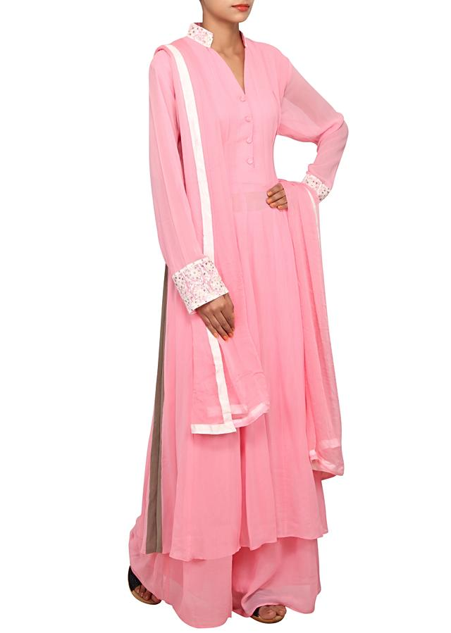 Baby pink straight fit suit featured in georgette  only on Kalki