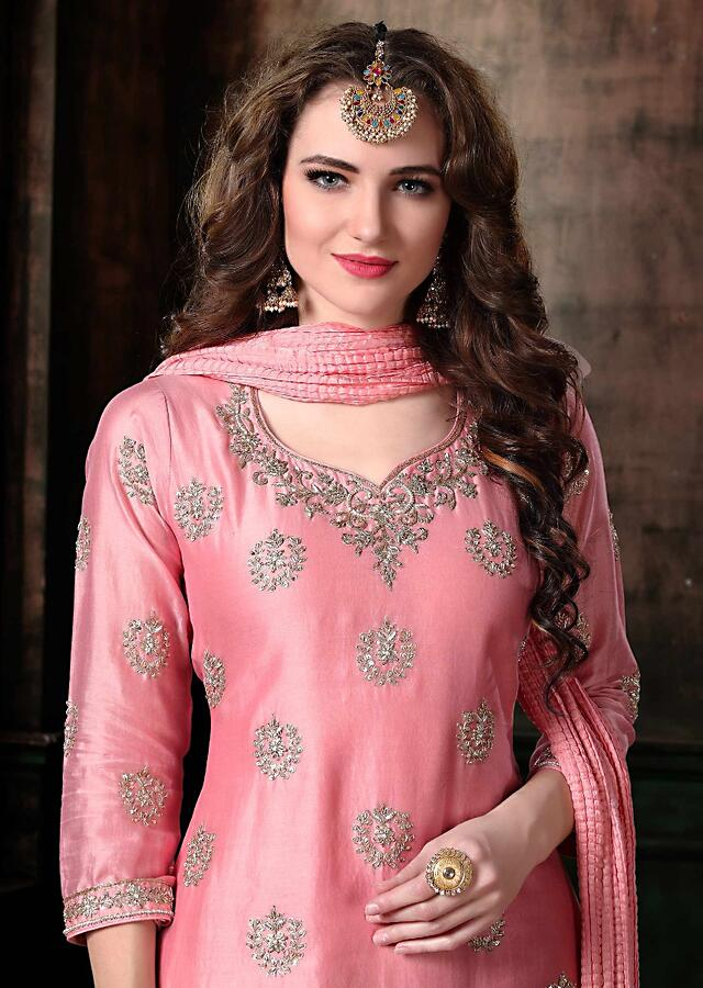 Baby Pink Suit With Embellished Buttis And Printed Chiffon Skirt Online - Kalki Fashion