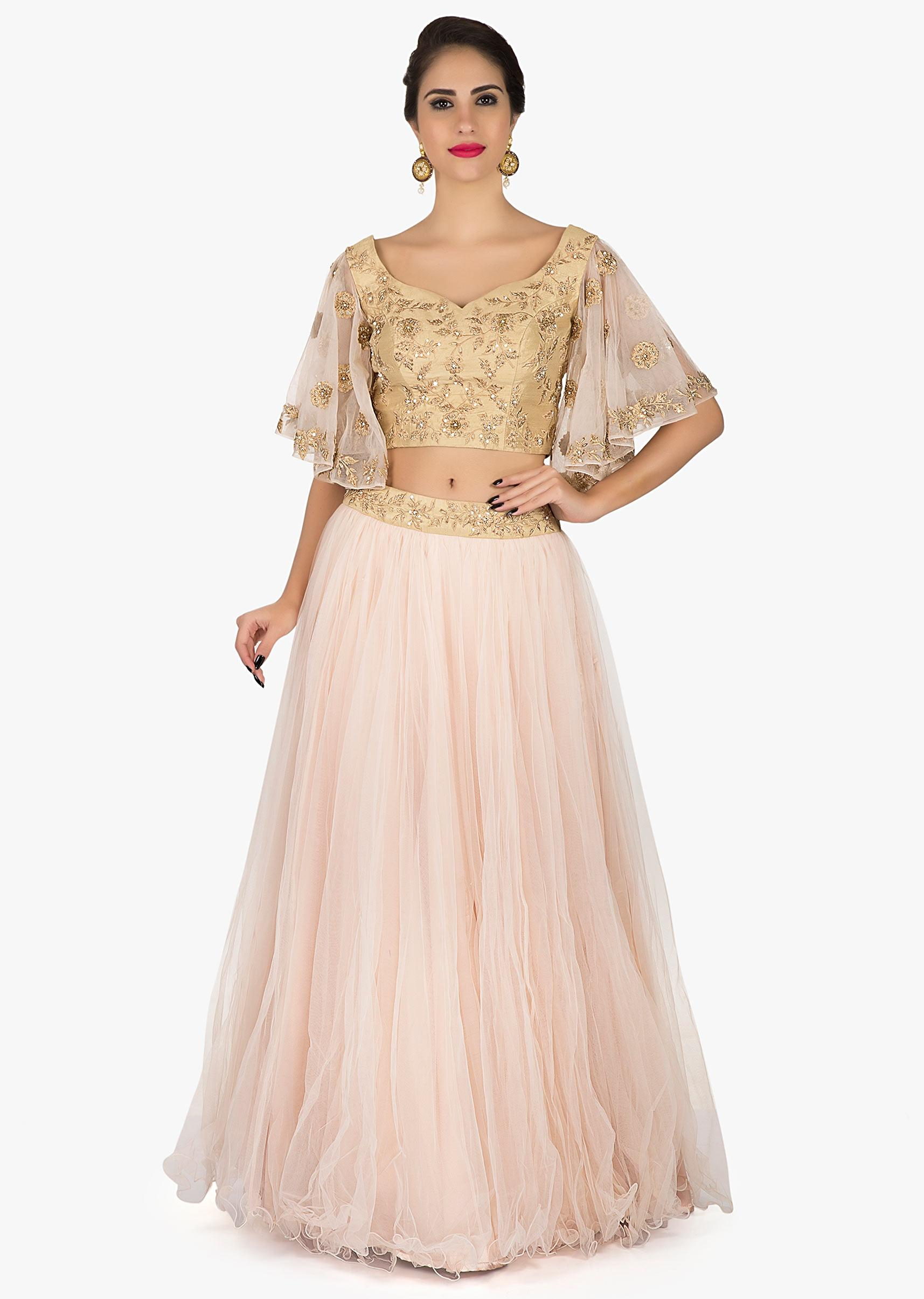 30bd811260bb Baby Pink lehenga in net with a ready blouse flaunting the bell sleeves in  Zardosi only on Kalki More Detail