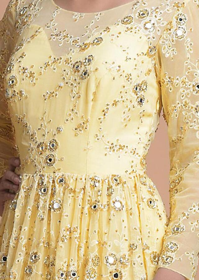 Banana Yellow Anarkali Suit With Lucknowi, Mirror And Sequins Work In Floral Jaal Pattern Online - Kalki Fashion