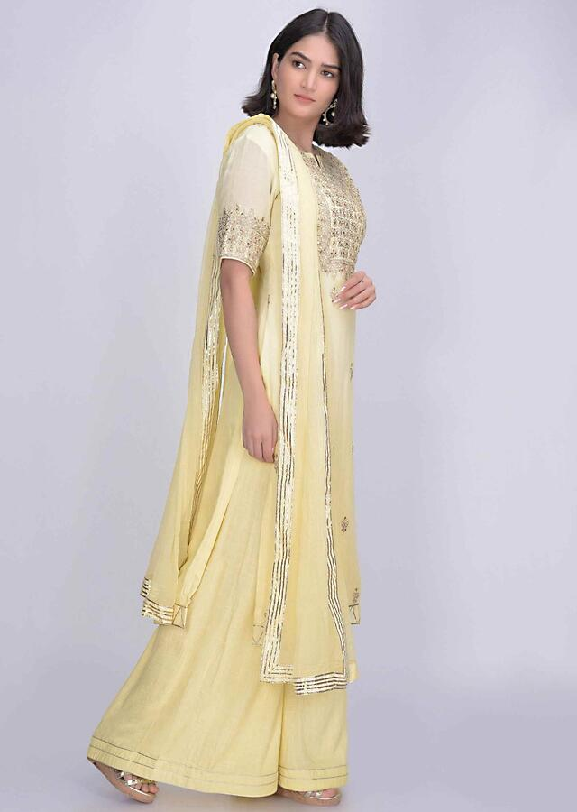 Banana yellow cotton silk suit with palazzo bottoms only on Kalki