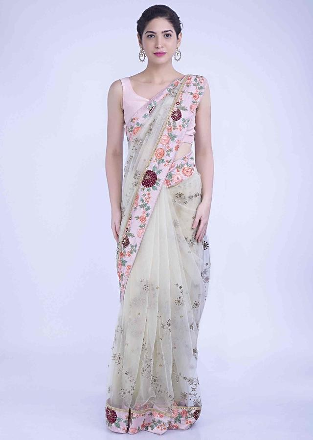 Banana Yellow Saree In Net With Blush Pink Raw Silk Blouse Piece Online - Kalki Fashion