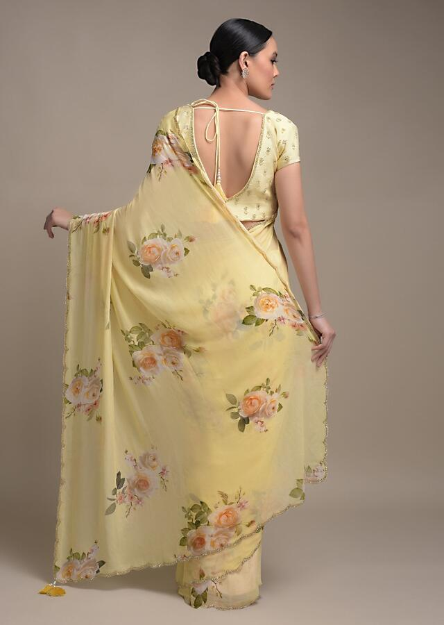 Banana Yellow Saree In Georgette With Floral Print All Over Online - Kalki Fashion