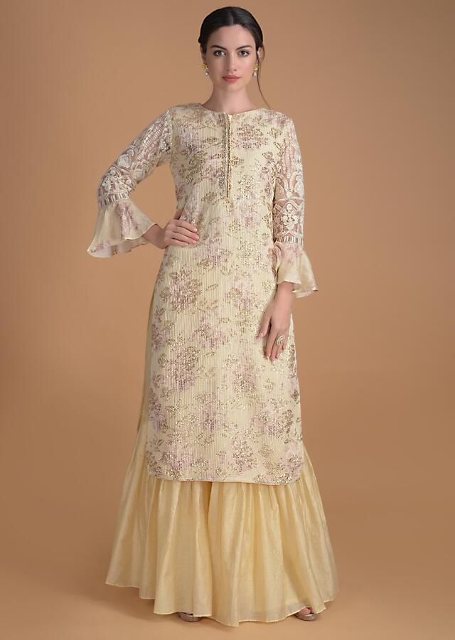Banana Yellow Sharara Suit With Floral Print And Sequins And Thread Embroidery Online - Kalki Fashion