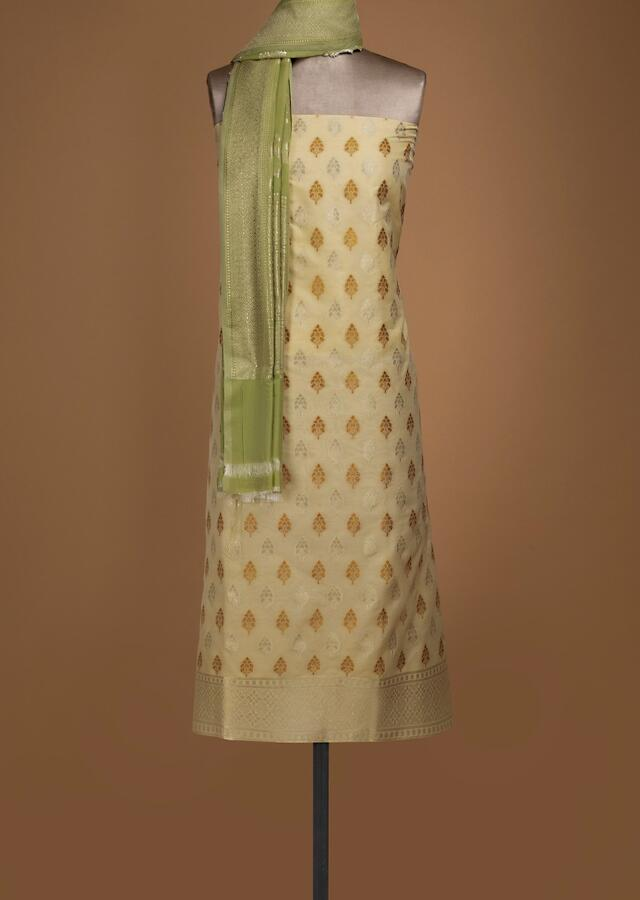 Banana Yellow Unstitched Suit In Silk With Weaved Buttis All Over Online - Kalki Fashion