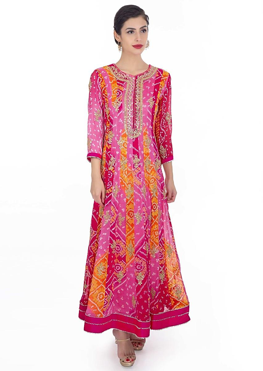 6e22d8cb68 Bandhani georgette anarkali suit in shades of pink and orange paired with  rani pink chiffon dupatta only on KalkiMore Detail