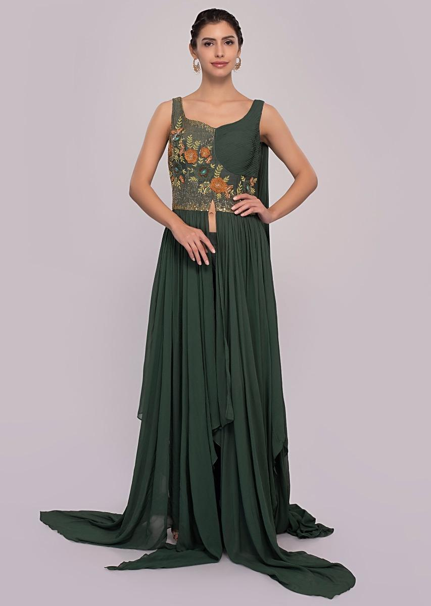 b99377d977 Basil green net skirt paired with long peach georgette top only on Kalki