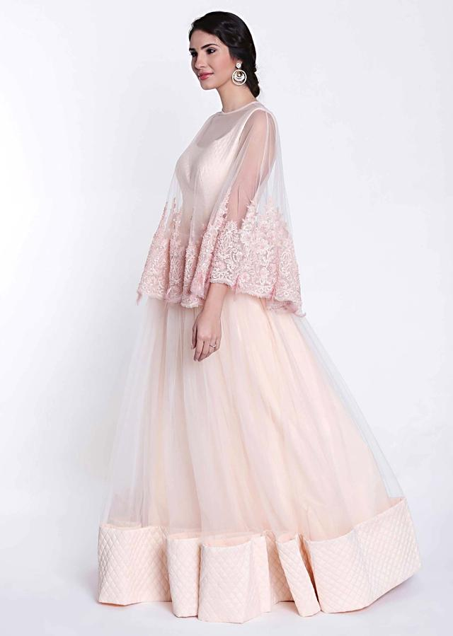 Beach pink gown with embroidered cape net only on Kalki