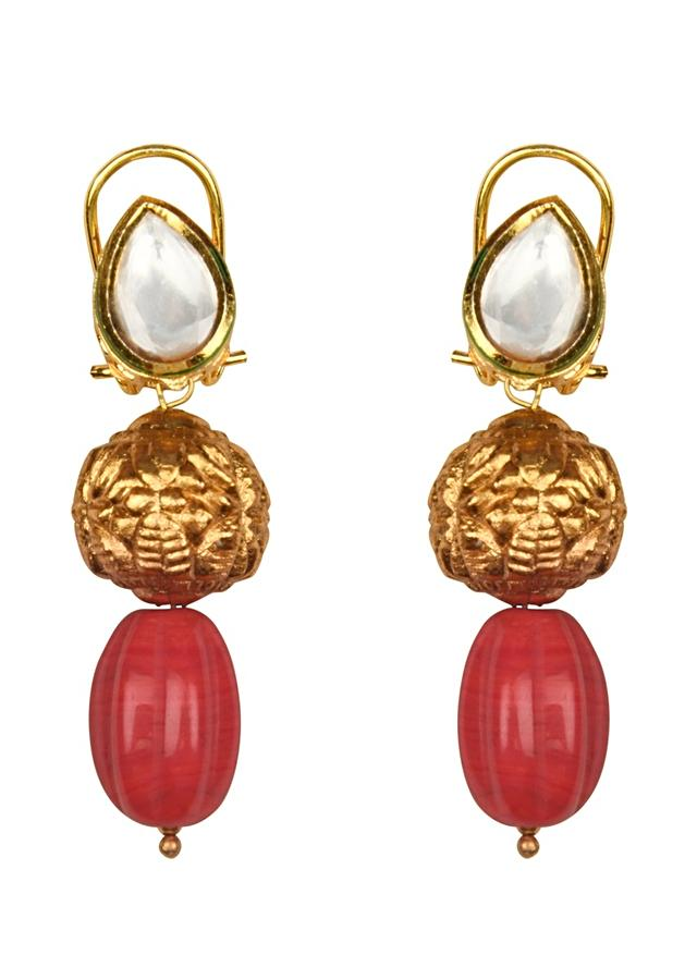 Beaded Bauble Orange Necklace And Earrings Set With Kundan And Coral Beads Online - Joules By Radhika