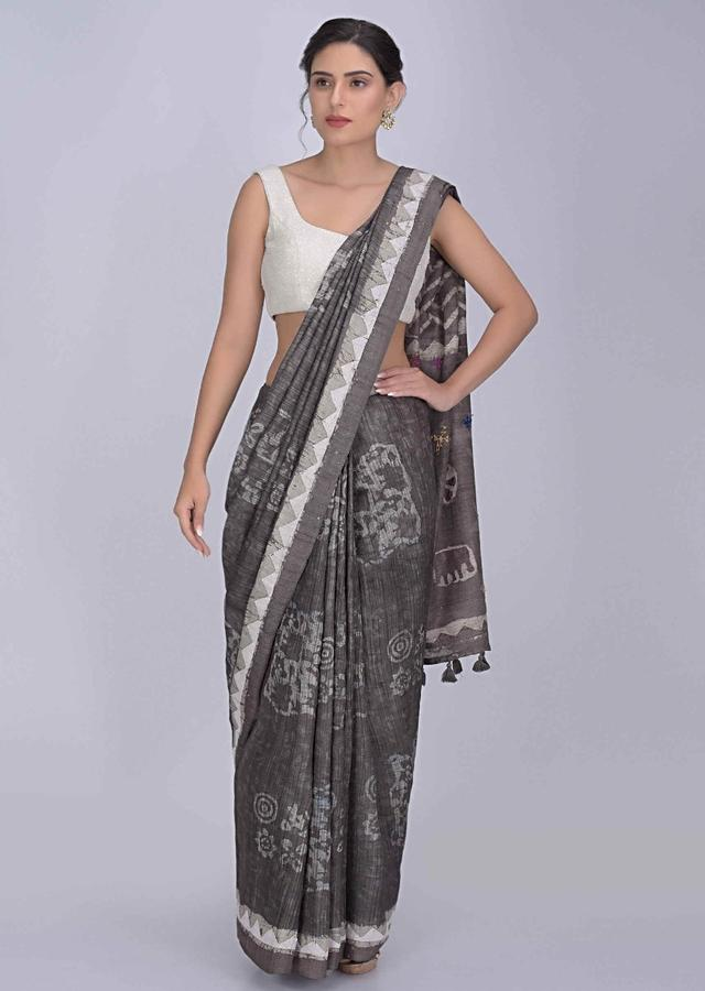 Bear Creek Grey Saree In Tussar Silk With Batik Print All Over Online - Kalki Fashion
