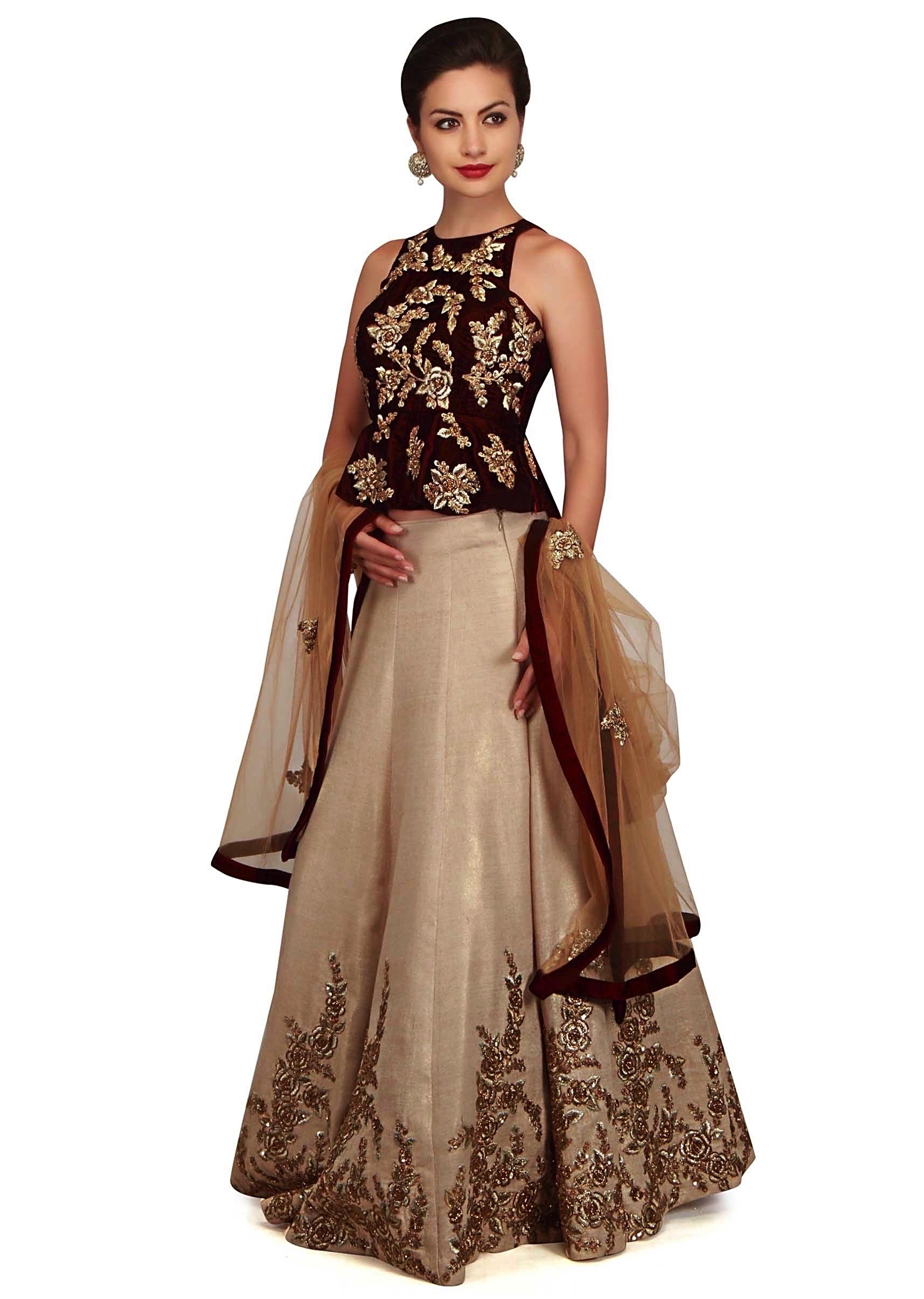 7b447ed2e53e2 Beige gold lehenga with wine peplum top in floral motif only on Kalki
