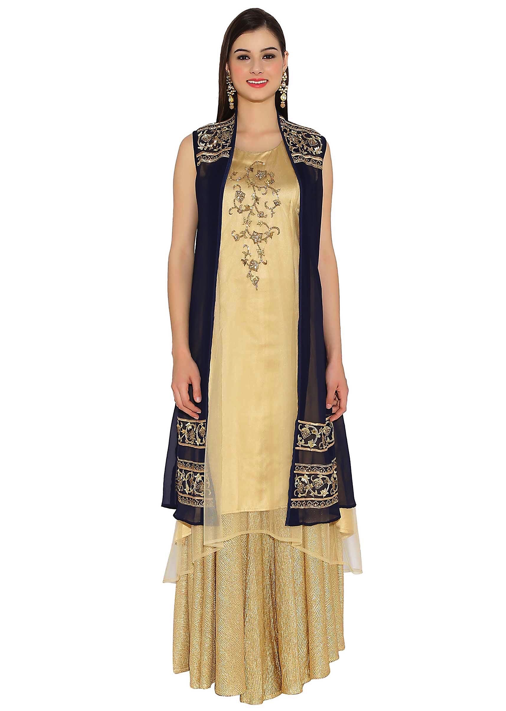 42573c21b7 Beige and navy blue kurti in zari embroidered butti and hem lineMore Detail