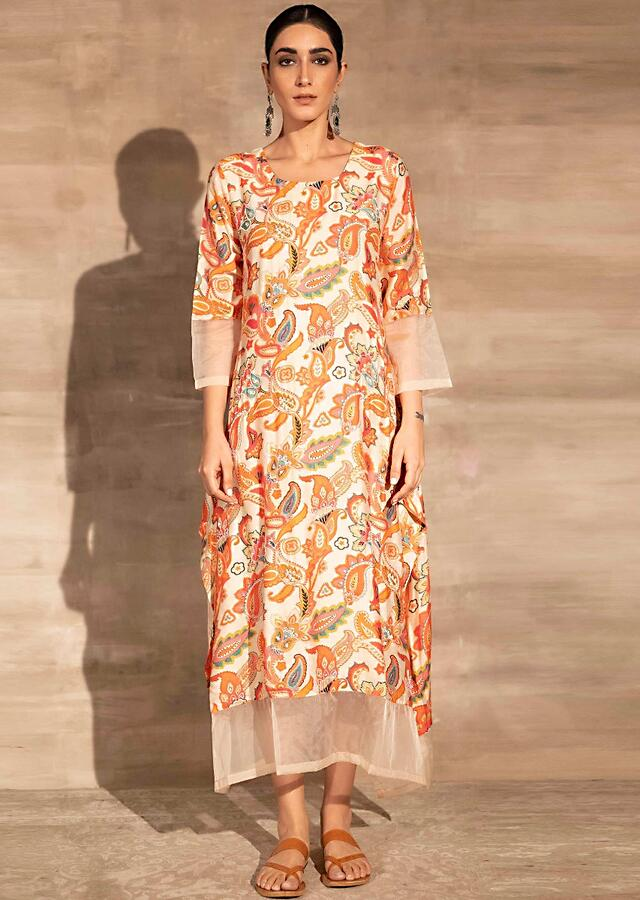 Beige A Line Tunic Dress With Floral Print And Mesh Detailing Online - Kalki Fashion