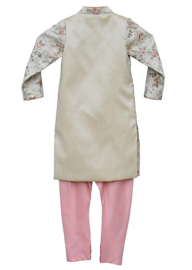 Beige Ajkan With Floral Jaal Embroidery And Pink Churidar By Fayon Kids