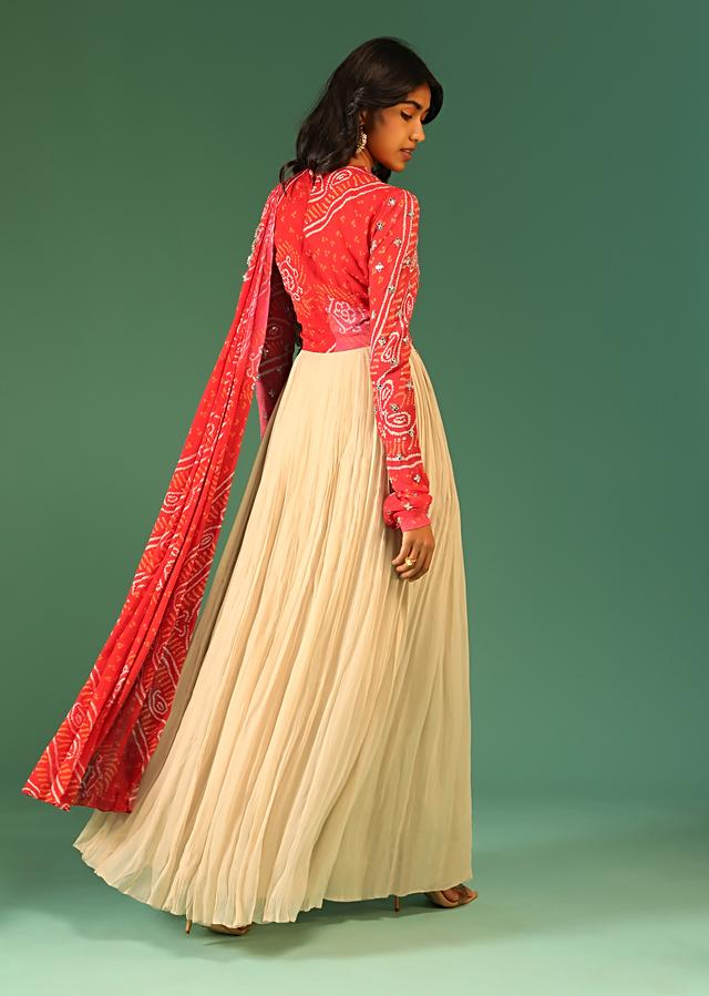 Beige Anarkali Dress In Georgette With Pink Shaded Bandhani Bodice And Attached Bandhani Drape Online - Kalki Fashion