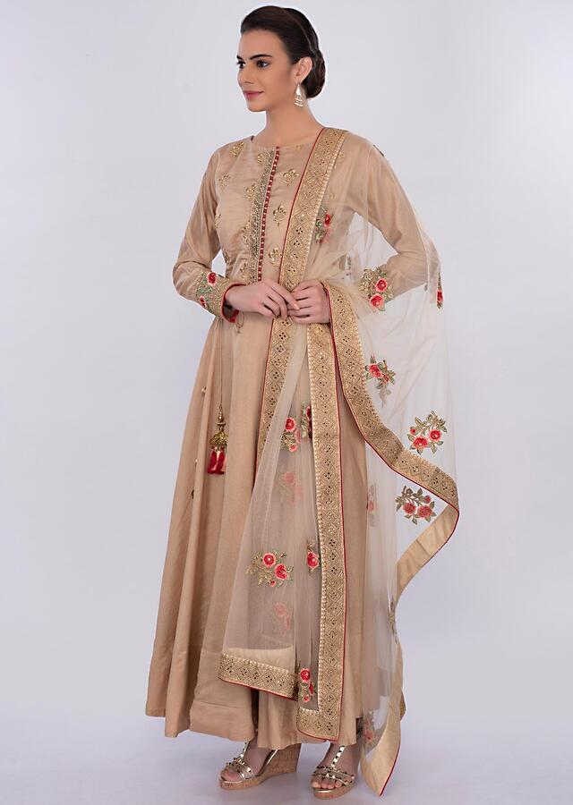 Beige Anarkali Dress With Net Floral Embroidered Dupatta Online - Kalki Fashion