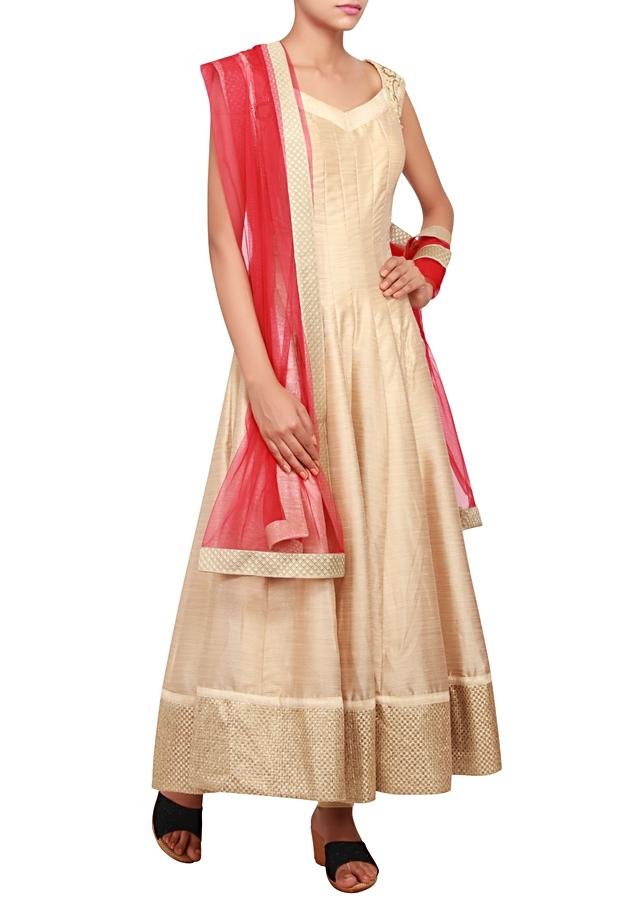 Beige anarkali featured in silk with patch zari emroidery only on Kalki