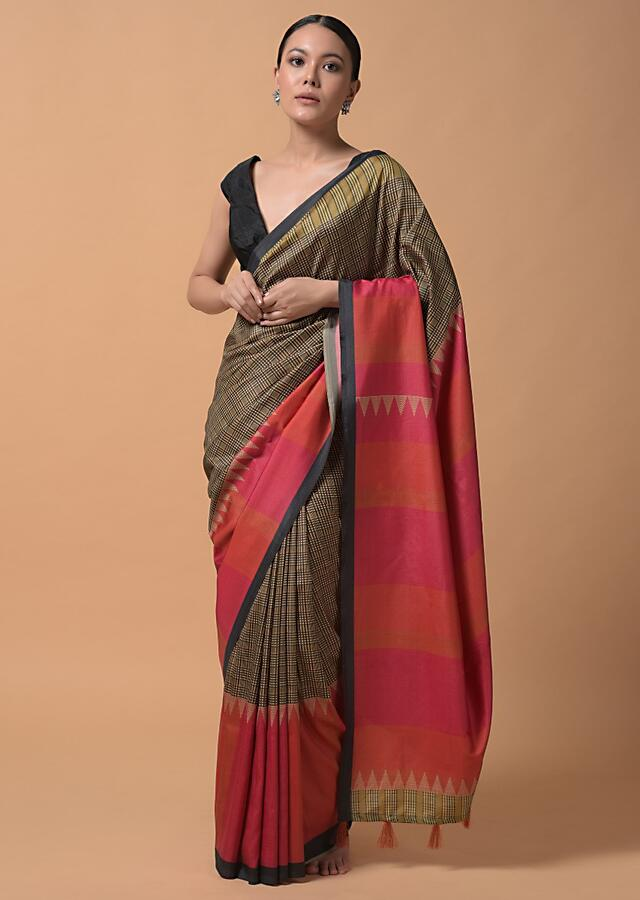 Beige And Back Saree With Checks Print And Contrast Bright Orange And Pink Printed Border Online - Kalki Fashion