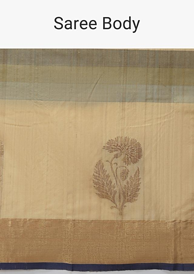 Beige And Grey Pure Handloom Saree In Tussar Silk With Stripes And Woven Floral Border Online - Kalki Fashion