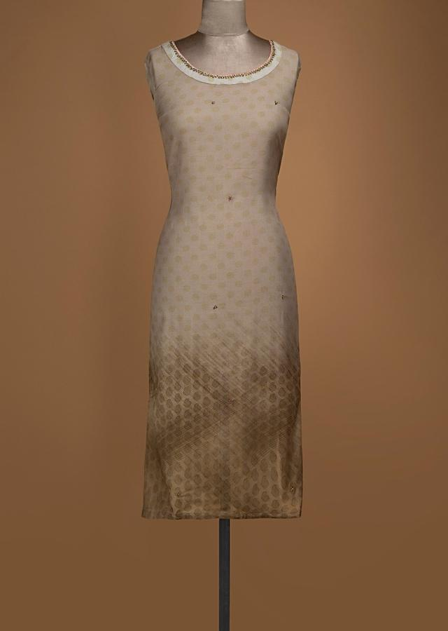 Beige And Olive Shaded Unstitched Suit In Cotton With Polka Dot Print Online - Kalki Fashion