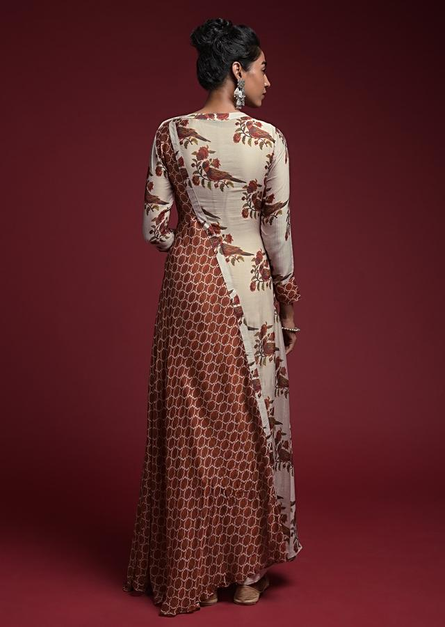 Beige And Orange A Line Tunic With Floral And Moroccan Print In Half And Half Design  Online - Kalki Fashion