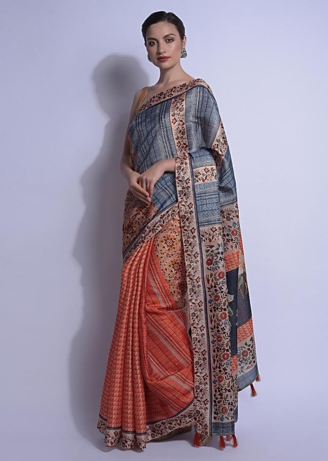 Beige And Orange Half And Half Saree In Silk With Geometric, Stripes And Floral Print  Online - Kalki Fashion