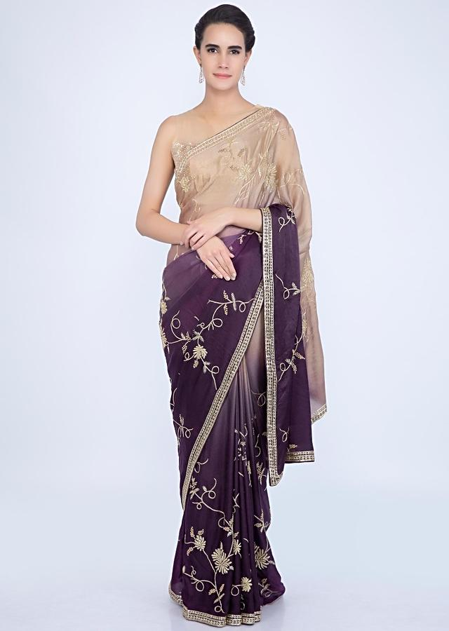 Beige And Purple Saree In Shaded Satin Silk With Jaal Embroidery Online - Kalki Fashion