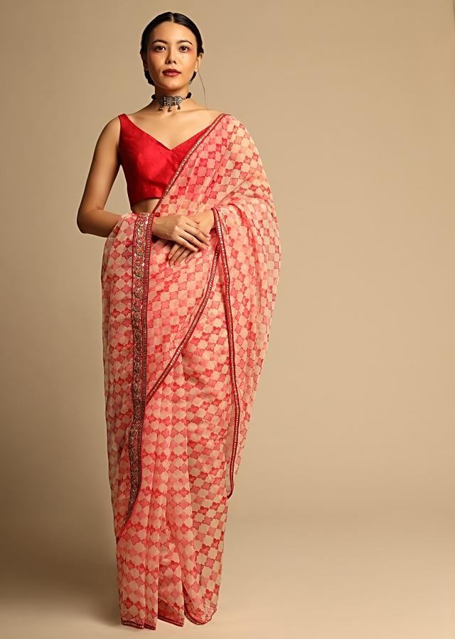 Beige And Red Saree In Organza With Jaal Print And Gotta Embroidered Pallu Border Along With Unstitched Blouse Online - Kalki Fashion