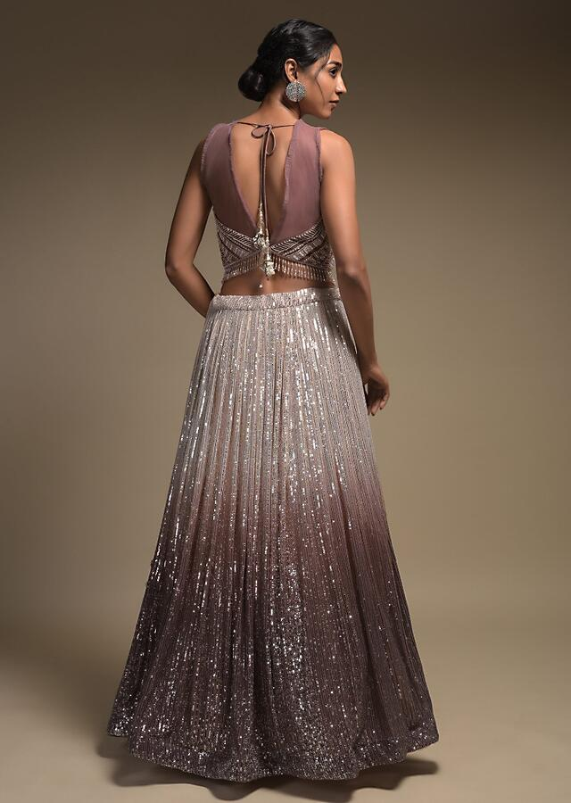Beige And Taupe Shaded Skirt In Net With Sequins Work And Embellished Sleeveless Crop Top Online - Kalki Fashion