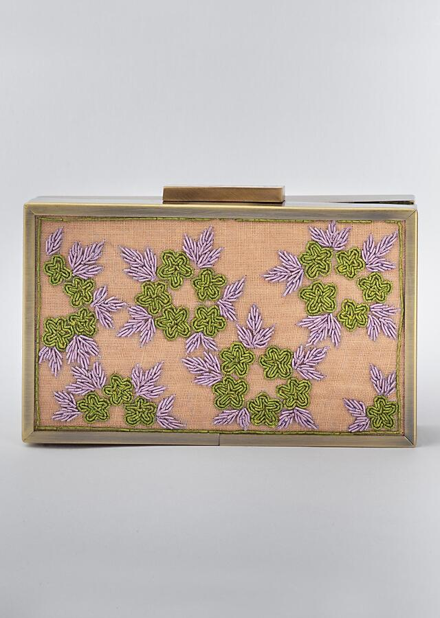 Beige Box Clutch In Heavy Linen With Vibrant Color Zardozi Work In Floral Design By Vareli Bafna